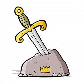 image of arthurian  - cartoon sword in stone - JPG