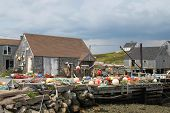 stock photo of shacks  - Fishing shacks with colorful buoys along the Atlantic Shore in Peggy - JPG