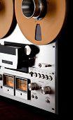 stock photo of analogy  - Analog Stereo Open Reel Tape Deck Recorder Vintage Closeup - JPG