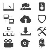 stock photo of antivirus  - set of different black and white sillhouette web icons  - JPG