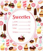 stock photo of oval  - Sweets menu or price list template within an oval frame surrounded by colorful icons of ice cream  glazed and iced cakes  pastries  candy  milkshakes and desserts on white - JPG