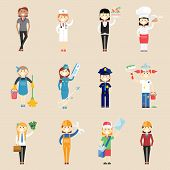 foto of air hostess  - Set of icons of girl characters in professional clothing with a doctor  waitress  cook  chef  cleaner  air hostess  policewoman  painter  architect  engineer  artisan  businesswoman and postwoman - JPG