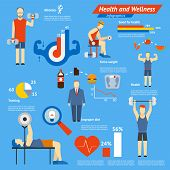 picture of cardiovascular  - Sport and fitness infographics showing athletes working out in a gym with weights and dumbbells with charts and graphs and cardiovascular activity  a central portion shows an unhealthy diet - JPG
