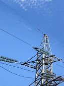 Electrical Powerlines (electricity Pylons), Blue Sky, Sunny Day poster