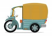 picture of rickshaw  - Funny cartoon cargo auto rickshaw or tuktuk - JPG
