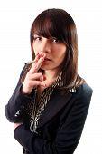 stock photo of smoking woman  - Woman in a suit smoking a cigarette - JPG