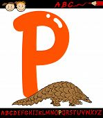 foto of letter p  - Cartoon Illustration of Capital Letter P from Alphabet with Pangolin Animal for Children Education - JPG