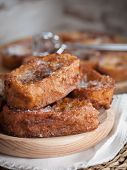 image of french toast  - French toasts on a wooden plate - JPG