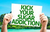 stock photo of addict  - Kick Your Sugar Addiction card with a beach on background - JPG