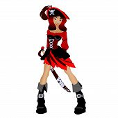 foto of pirate sword  - female pirate with a sword isolated on white background - JPG