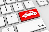 stock photo of keyboard  - Computer Keyboard with Red Car Button Illustration - JPG