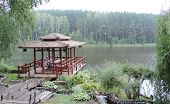 picture of gazebo  - Gazebo for relaxing in the Chinese style on the lake - JPG