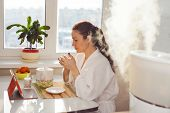 pic of ultrasonic  - Woman drinking tea reading tablet near humidifier - JPG