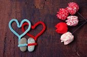 stock photo of love hurts  - Colourful harmony Valentine background amazing style handmade flower I love you message on wooden red color Valentine day on Feb 14 is the day for couple they give lovely gift for lover - JPG