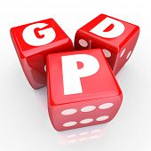 image of prosperity  - Gross Domesic Product GDP letters on three red dice to illustrate national production - JPG