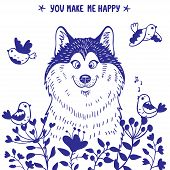 pic of wolf-dog  - Stylish card with silhouettes cartoon cute dog husky with birds and flowers - JPG