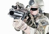picture of grenades  - United States Army ranger with assault rifle and grenade launcher - JPG