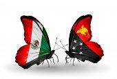 stock photo of papua new guinea  - Two butterflies with flags on wings as symbol of relations Mexico and Papua New Guinea - JPG
