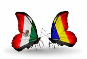 picture of chad  - Two butterflies with flags on wings as symbol of relations Mexico and Chad Romania - JPG