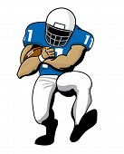 stock photo of scat  - Football player running back running with football - JPG