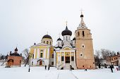 Постер, плакат: Cathedrals And Holy Spring In Holy Dormition Monastery Staritsa Winter