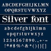 stock photo of coat  - Vector silver coated alphabet letters - JPG