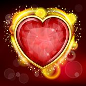 picture of gem  - Valentines Day background with gem hearts and shiny border - JPG