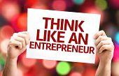 stock photo of entrepreneur  - Think Like an Entrepreneur card with colorful background with defocused lights - JPG