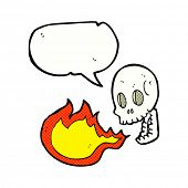 stock photo of fire-breathing  - cartoon fire breathing skull - JPG