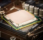 image of processor socket  - Modern processor and motherboard for a home computer - JPG