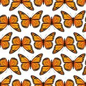 stock photo of monarch  - Seamless pattern with monarch butterflies - JPG