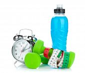picture of clocks  - Two green dumbells - JPG