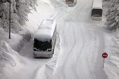 pic of slippery-roads  - Main road after heavy snowfall - JPG
