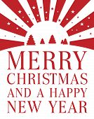 foto of merry christmas text  - Christmas card with traditional Christmas trees and stars relating to the star of Bethleham with bold upper case text  - JPG
