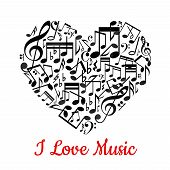 picture of heart sounds  - Musical heart with notes ant text I love music - JPG