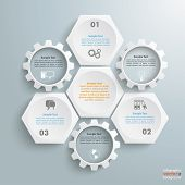 stock photo of honeycomb  - Infographic with honeycomb structure and gears on the grey background - JPG