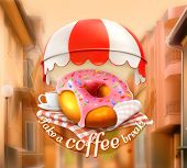 image of awning  - Pink donut and cup of coffee - JPG