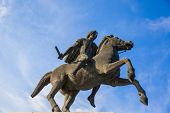picture of great horse  - Alexander the Great statue on city square in Thessaloniki Greece