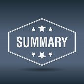 picture of summary  - summary hexagonal white vintage retro style label - JPG