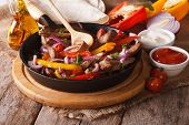 image of mexican  - Mexican fajitas and ingredients close - JPG