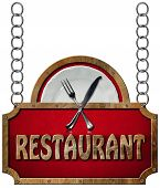 pic of food chain  - Restaurant sign with metal frame white plate with silver cutlery - JPG