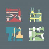 foto of carpentry  - Set logo Construction tools - JPG