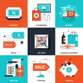 stock photo of qr-code  - Vector set of flat shopping and commerce icons - JPG