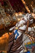 picture of merry-go-round  - Wooden horse on a merry - JPG