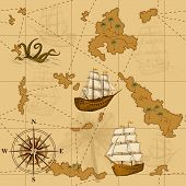 pic of kraken  - seamless old map with a compass and ships in yellow - JPG