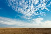 picture of plowed field  - a plowed field on a background of blue cloudy sky - JPG