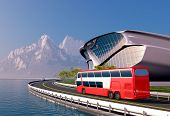 foto of bus driver  - Bus and modern house on the beach - JPG
