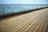 picture of bordeaux  - Wooden terrace facing the Atlantic Ocean near Bordeaux France  - JPG