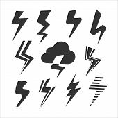 stock photo of lightning  - Set of Symbols Lightning eps 8 file  format - JPG