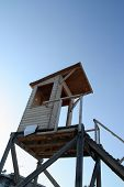picture of lifeguard  - Lifeguard tower on a beach - JPG